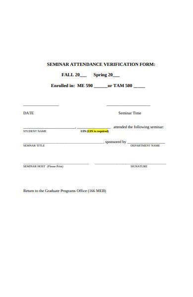seminar attendance verification form