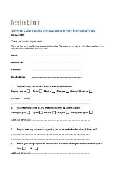 seminar event feedback form