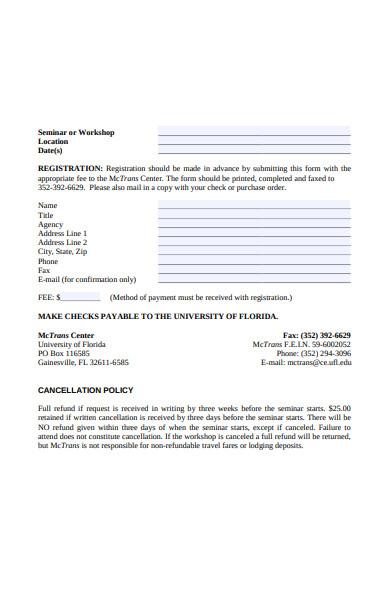 seminar workshop registration form sample