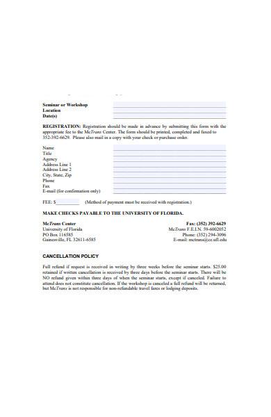 seminar workshop registration form
