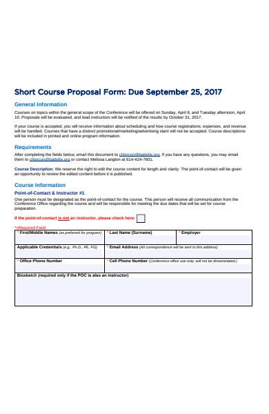 short course proposal form