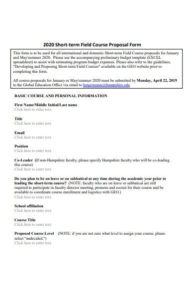 short term field course proposal form