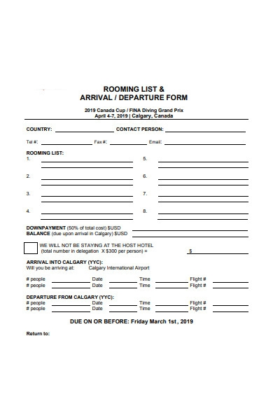 simple arrival and departure form
