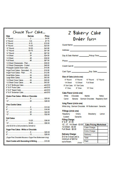 simple bakery order form
