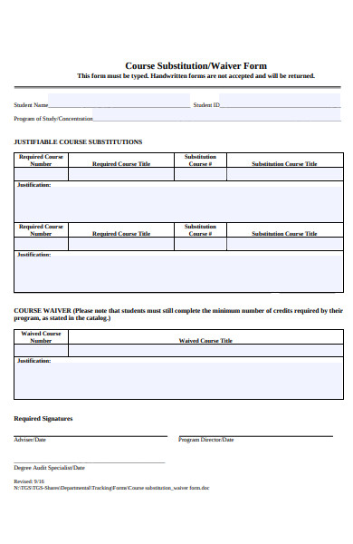 simple course substitution form