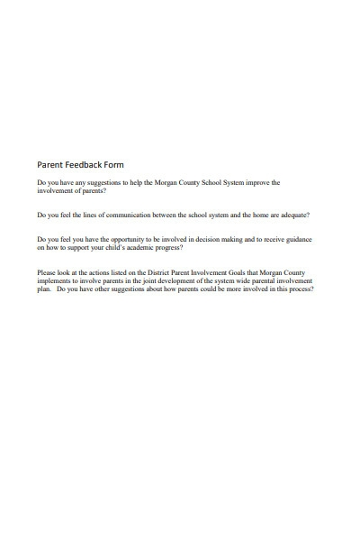 simple parent feedback form in pdf