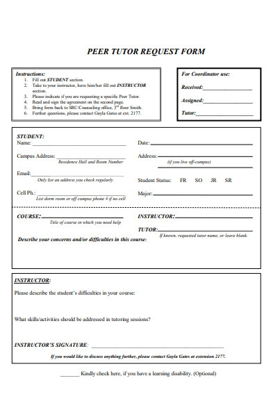simple peer tutor request form