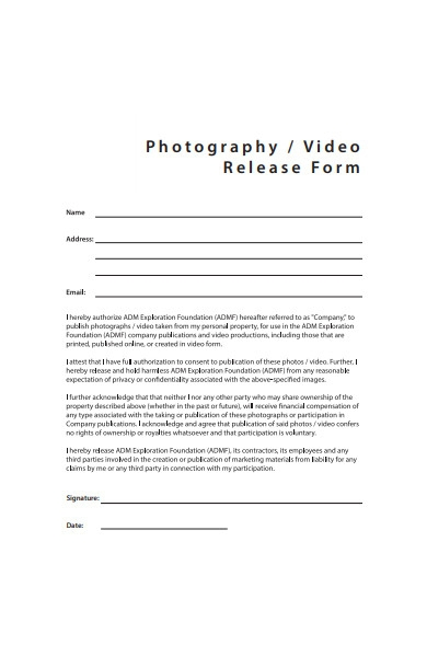 simple photography video release form