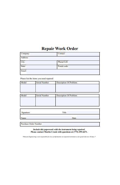 simple repair work order