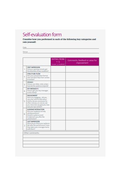 simple self evaluation form
