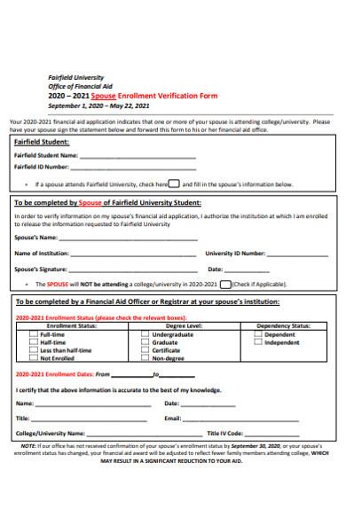 simple spouse enrollment verification form