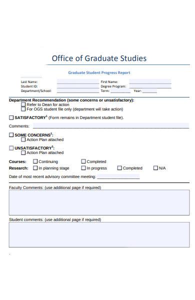 simple student progress report form