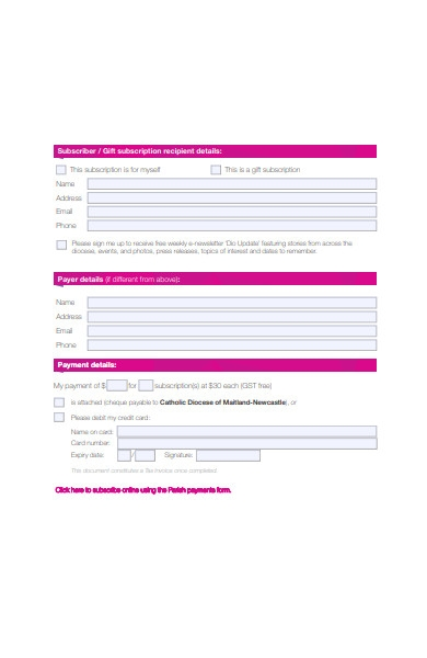 simple subscription form format