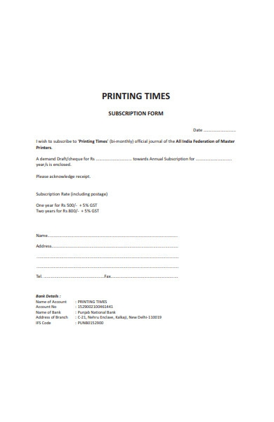 simple subscription form in pdf