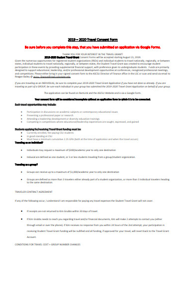 simple travel consent form