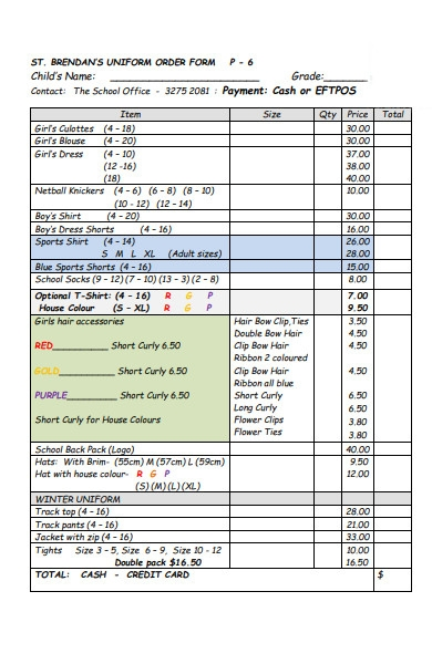 simple uniform order form