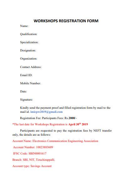 simple workshop registration form in pdf