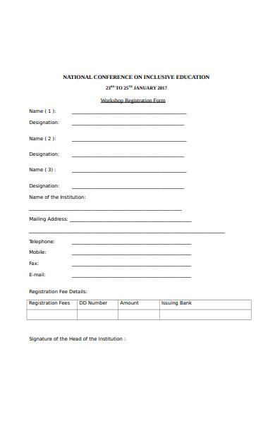 simple workshop registration form