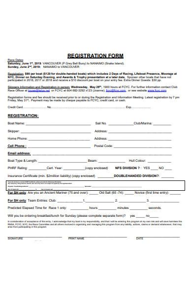 single race registration form