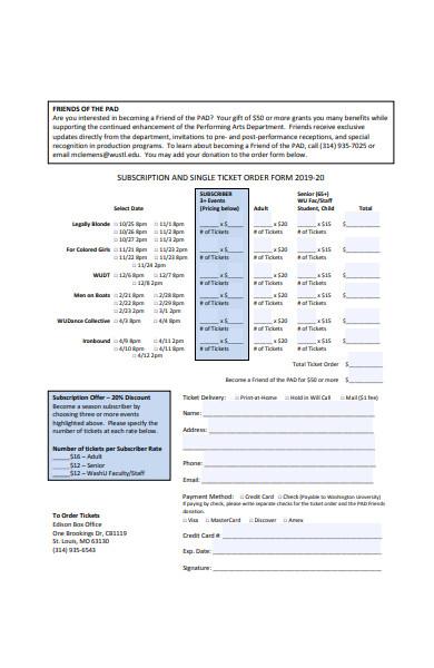 single ticket order form