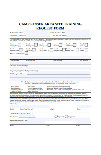 site training request form
