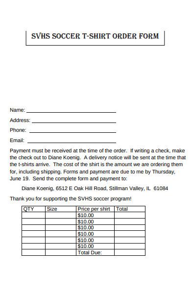 soccer t shirt order form