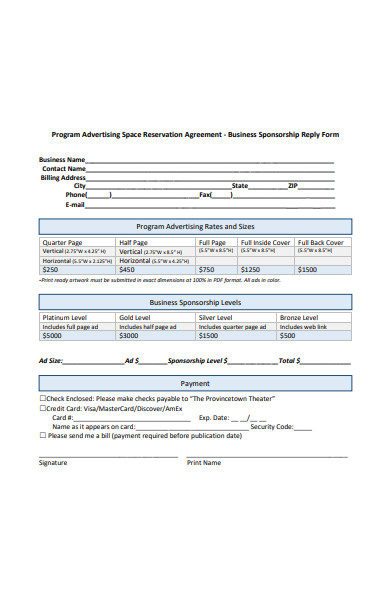 space reservation advertising agreement form