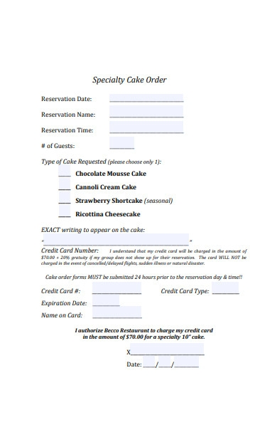 specialty cake order form