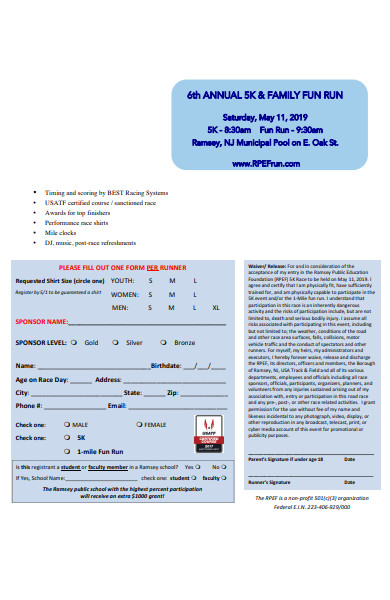 specific race registration form