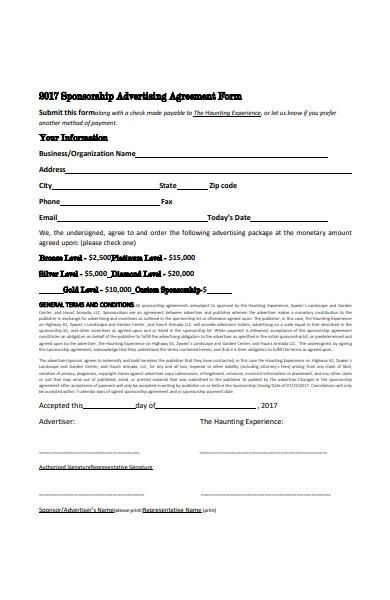 sponsorship advertising agreement form