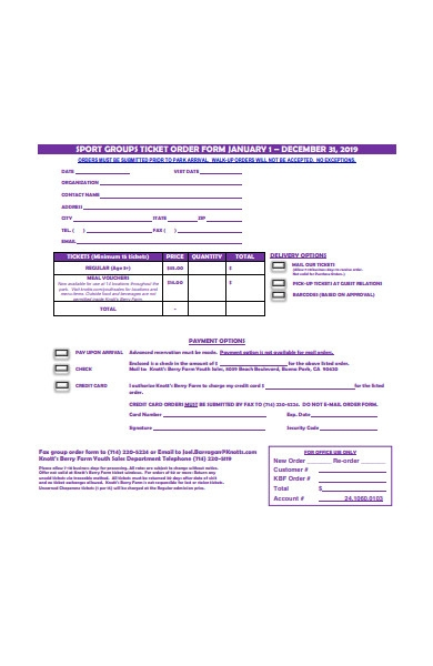 sport groups ticket order form