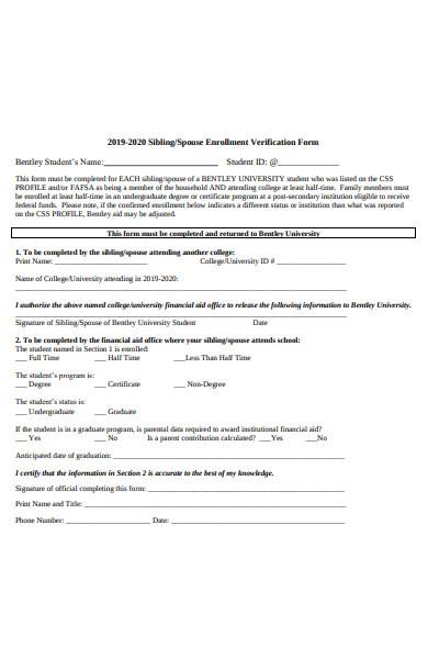 spouse enrollment verification form