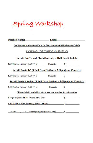spring workshop registration form