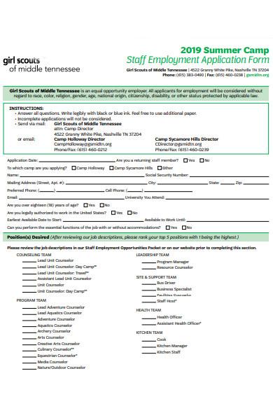 staff summer camp application form