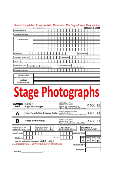 stage photography order form