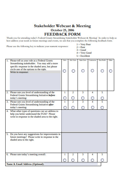 stakeholder meeting feedback form