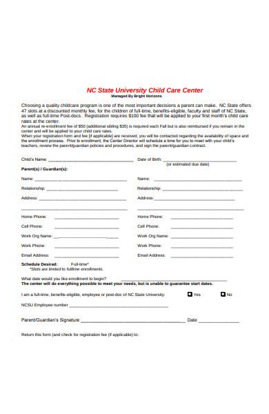 standard childcare registration form