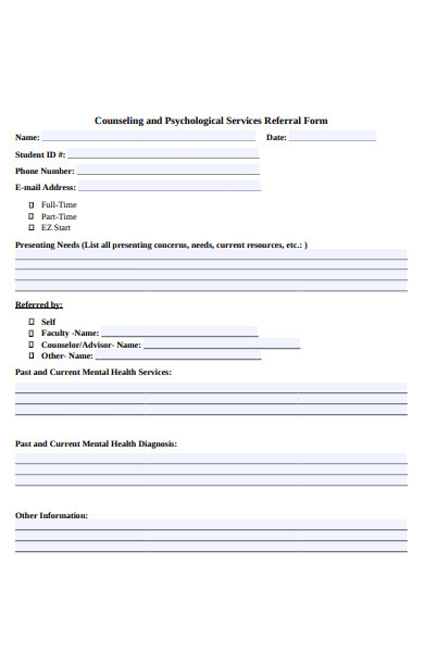 standard counseling referral form