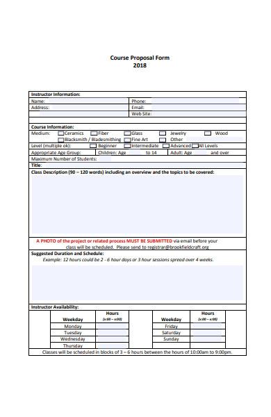 standard course proposal form