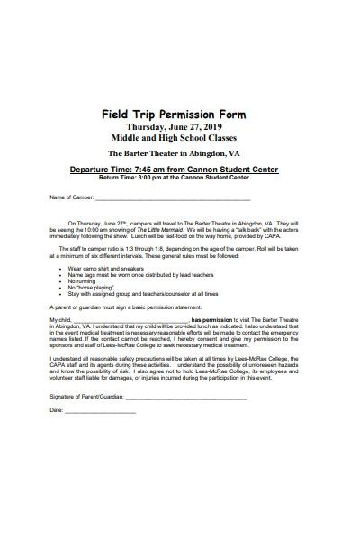 standard field trip permission form