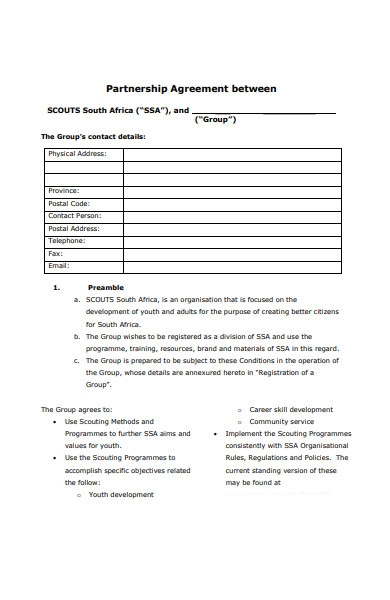 standard partnership agreement form
