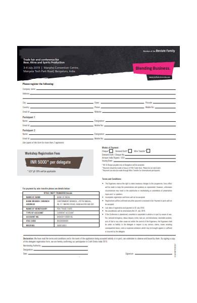 standard workshop registration form