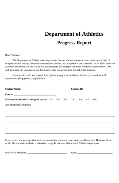 student athletic progress report form