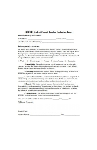 student council teacher evaluation form