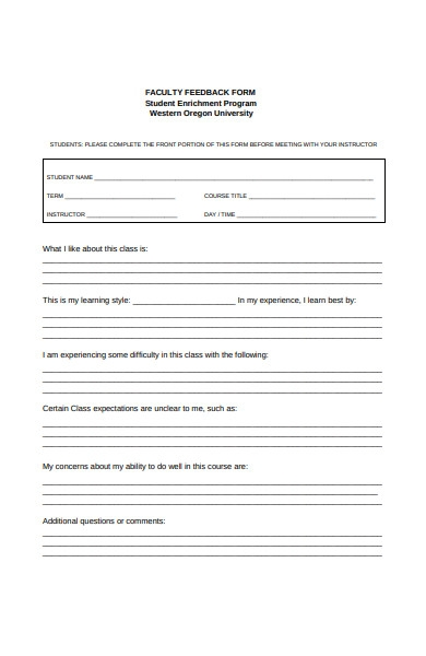 student faculty feedback form