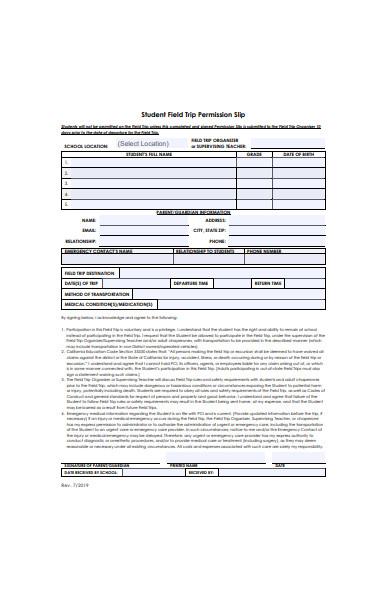 student field trip permission slip form