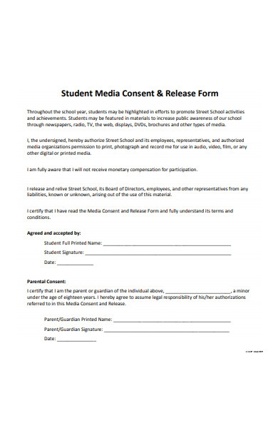 student media consent release form