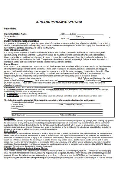 student participation form