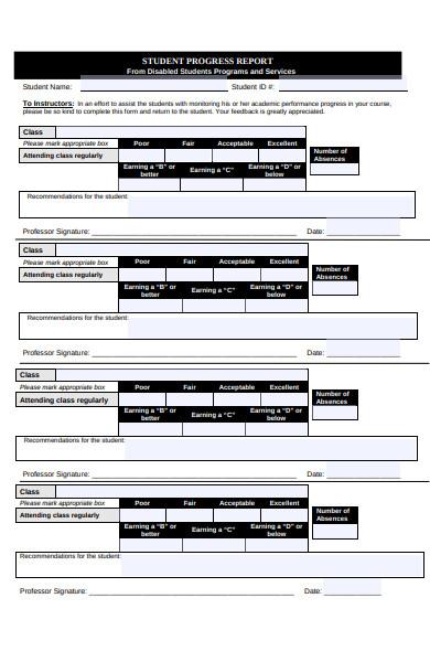 student performance progress report form