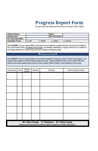student progress report form sample